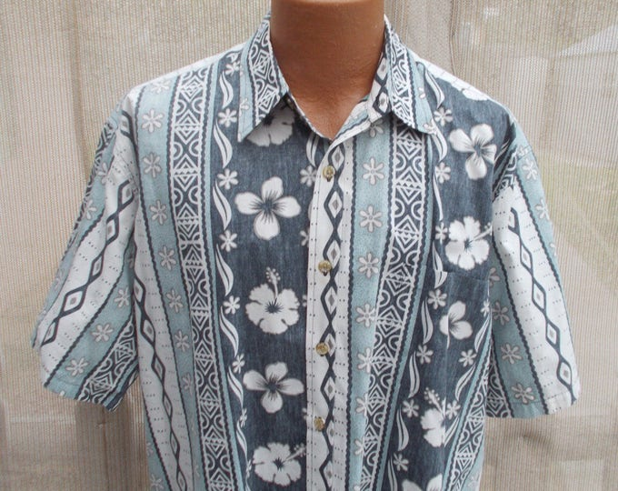 Vintage 90s Cooke Street Honolulu Green White Cotton Hibiscus Flower Floral Striped Mens Short Sleeve Hawaiian Shirt