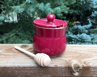 Handmade, Wheel-Thrown, Ceramic, Ted Wine Glazed Honey Pot