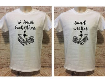 "Frozen Inspired ""We Finish Each Others Sandwiches"" shirts. You choose design & shirt colors! Adult unisex, ladies cuts, tanks and plus sizes"