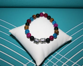 MULTI-PIERRES AND BUDDHA HEAD BRACELET