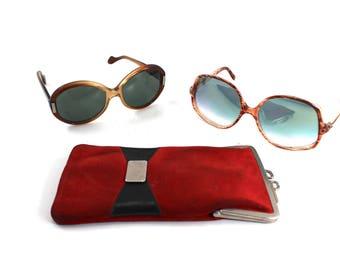 2 pairs of vintage 1970s or 80s sunglasses and holder case - 70s, 1980s, retro, large frames, dark lenses, light, oversized, tortoiseshell