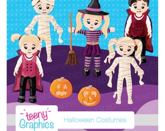 Halloween Clip Art, Mixed Costumes,Small Commercial Use,Digital Clipart,Vector,Downloads,Scrap booking,Sale,Vampire-clip06