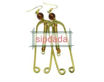 Handmade brass earrings, African earrings