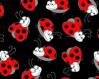 Blank Quilting GARDEN CRITTERS Lady Bug Quilt Fabric 1/2 Yard - Black A 7355 99