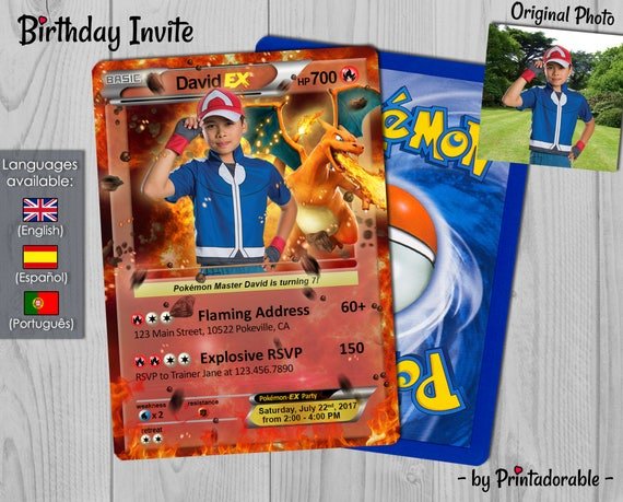 Pokémon Card Fire, Pokemon Invitation Fire, Pokemon Birthday Invite, Pokemon Party, Pokemon GO - Digital or Printed File