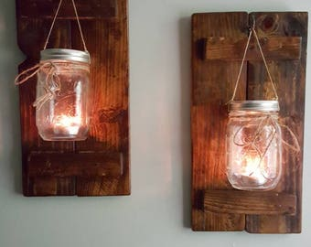 Rustic Tea Light Sconces made from pallet wood, Set of 2