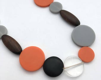 Minimalist wooden necklace / orange necklace / long chunky necklace / birthday gift for her / wedding anniversary gift / statement necklace