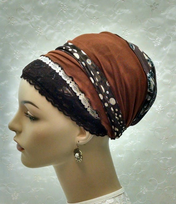 Feminine brown floral sinar tichel, tichels, chemo scarves, hair snoods, head scarves