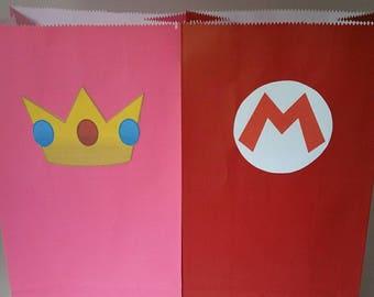 10 pc. Super Mario Princess Peach Party Favor Bags-Can do any Mario Character!