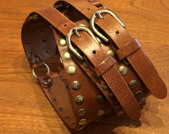 Four band leather belt
