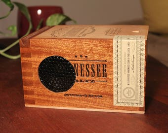 Tennessee Bluetooth Speaker, Wood Cigar Box, Wireless Speaker