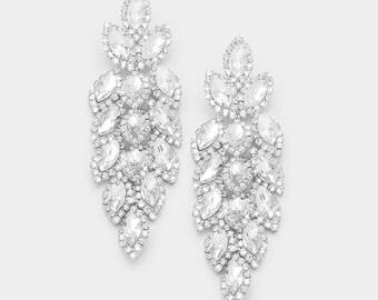 Crystal Earrings | Long Earrings | Long Crystal Earrings | Crystal Pageant Earrings | Prom Earrings | Homecoming Earrings