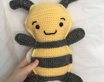 READY TO SHIP handmade crochet amigurumi art toy stuffed animal toy bumble bee rag doll plushie