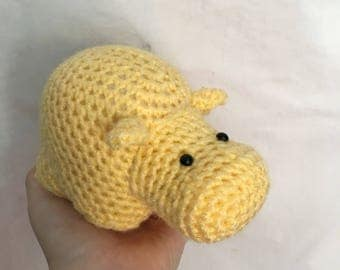 READY TO SHIP handmade crochet amigurumi art toy stuffed animal toy free-standing yellow hippo plushie