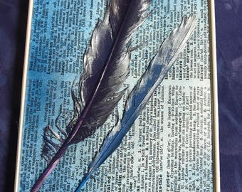Handmade Painted Feathers Wall Art
