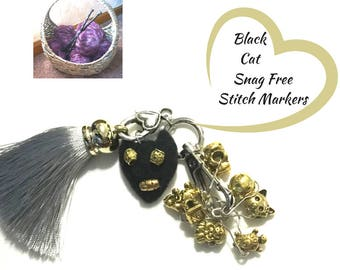 Black Cat Stitch Markers, Gift for Knitters, Snag Free Stitch Markers, Versatile Bag Charms, Unique Style gift, Knitters Stitch Markers