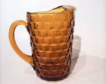 Amber Whitehall Pitcher| Cubist Pattern Amber Iced Tea Pitcher| Colony Whitehall