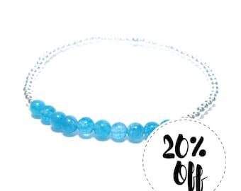 Aquamarine - Silver Beaded Bracelet