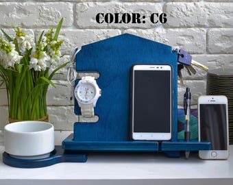 Docking Station The Office Gifts Ipad Accessories  wood iphone charger Wooden Docking desktop organizer wood ipad stand wooden ipad stand