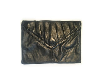 Vintage Italian Black Leather Clutch