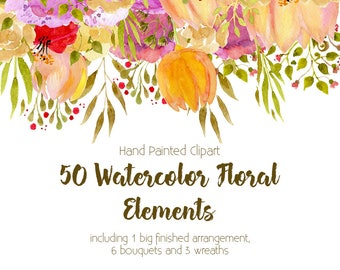 Clipart Set - 50 Watercolor Floral Elements. Flowers and leaves Clipart. 50 individual elements, 1 Floral Drop, 6 Bouquets and 3 wreaths