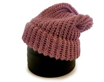 Lilac Knitted Beanie - Ready To Ship Adult/Teen Slouch Hat