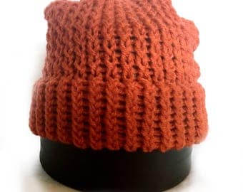 Orange Knitted Slouch Hat - Adult Ready to Ship Knitted Beanie