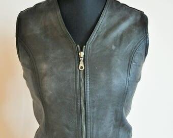 Vintage Genuine Leather Vest / Black / Pig leather / Biker / Rocker / Small / S 34 / 36 / Leather / Top