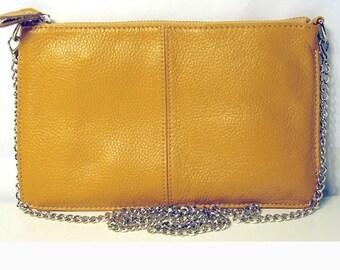 Mustard Yellow Zip Genuine Leather Wristlet Chain Clutch Bag