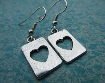 Cut Out Heart Rectangles . Earrings