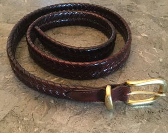 Coach Braided Brown Leather Belt Size 40""