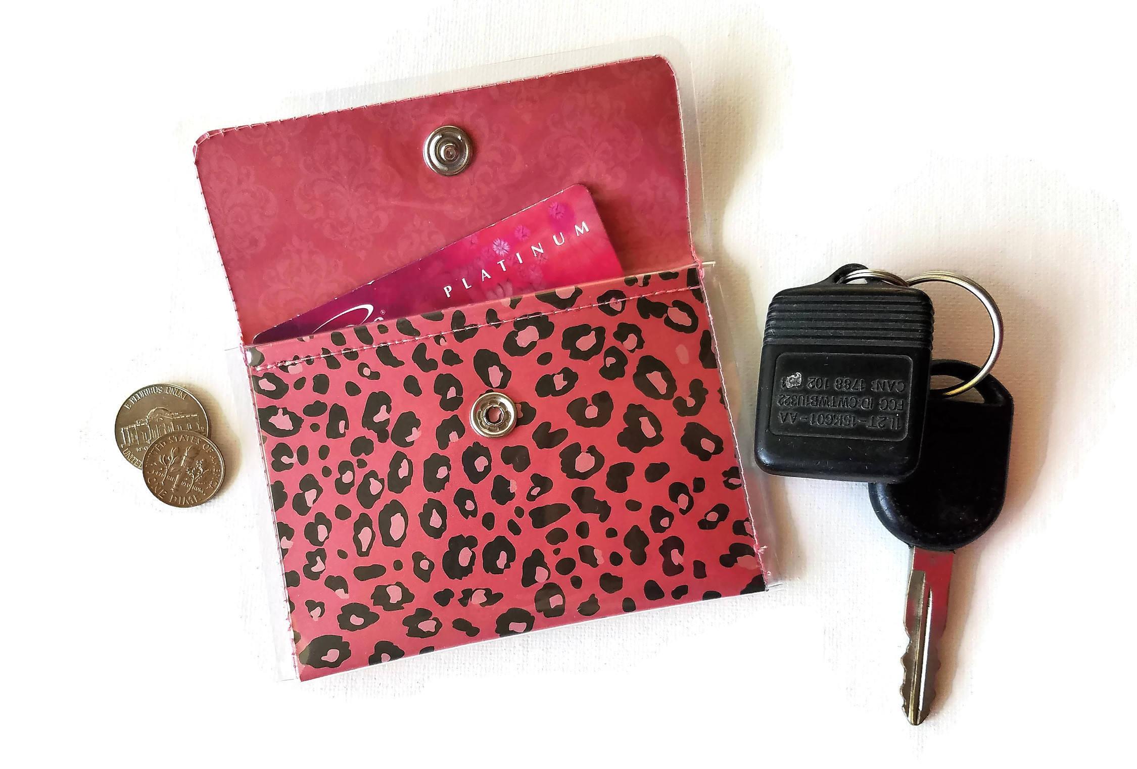 Pink and Black Leopard Print Cash/Card Vinyl Wallet, Walla Wallat ...