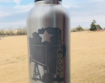 Texas oilfield etched stainless steel bottle, tumbler or flask | roughneck gift