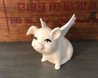 Vintage Flying Pig Figurine  Porcelain Angel Pig