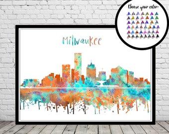 Milwaukee, Milwaukee skyline, Milwaukee Wisconsin, Office Wisconsin, watercolor Milwaukee, watercolor City Print, Office Art  (3591b)
