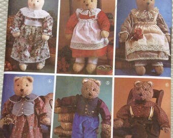 Stuffed teddy bear and clothes Simplicity pattern