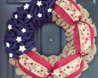 July 4th Wreath/ Star Wreath/ USA Wreath