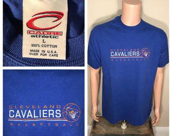 Cleveland Cavaliers tshirt // Vintage Cavs retro logo // adult size Large // 90s Cavs Basketball // embroidered