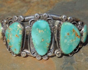 Native American Heavy Vintage Sterling and Turquoise Wide Split Band Cuff Bracelet - 84 Grams