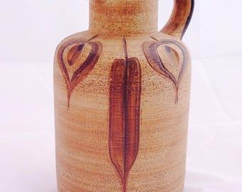 Vintage Sgrafo jug, Peter Muller, 60s 70s pottery, mid century jug, Art pottery, Vintage studio jug, German Sgrafo jug