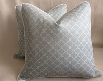 Quatrefoil Designer Pillow Covers - Powder Blue/ White Waverly Fabric - Custom Piping - 2pc Set - 18x18 Covers