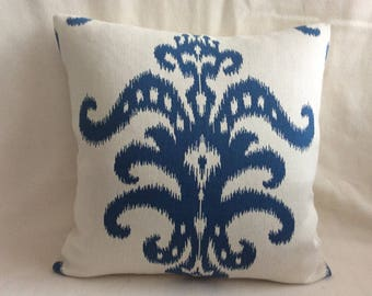 Large Scale Ikat Designer Pillow Cover - Off White/ Blue - Woven Ikat Motif - 22x22 Cover