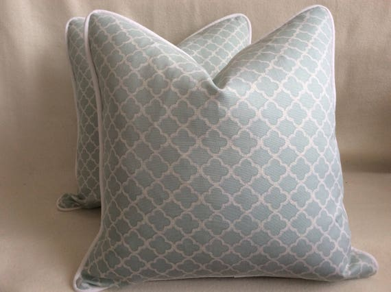 Quatrefoil Designer Pillow Covers - Pale Blue/ White Waverly Fabric - Custom Piping - 2pc Set - 18x18 Covers