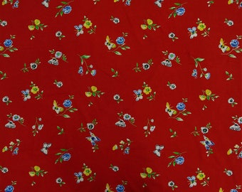 "Red Fabric, Butterfly Print, Decorative Fabric, Sewing Crafts Accessories, 42"" Inch Cotton Fabric By The Yard ZBC4634B"