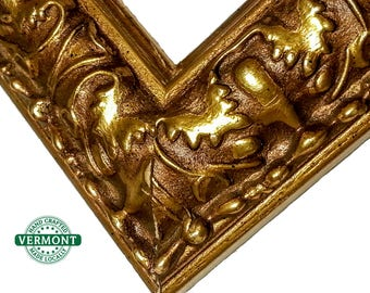 Ornate GOLD Picture Frame, Antique Gold Photo Frame, Wood, Oak Leaf, 4x6 5x7 9x9 8x10 9x9 10x12 12x12 11x14 16x20 17x20 23x27 24x30 24x36