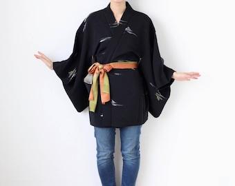black glitter kimono jacket, Haori, Japanese kimono, black kimono top, gift for her, montsuki haori, formal kimono, haori jacket /2167