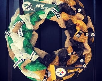Custom Made NFL House divided wreath: New York Jets / Pittsburgh Steelers