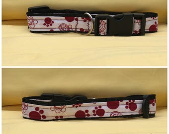 White and Red Dog Collar
