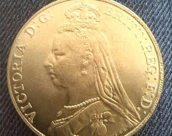 Queen Victoria Large Gold Colour Sovereign Coin 1891