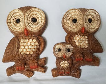 Vintage MidCentury Foam Owls Wall Art Decor with Baby
